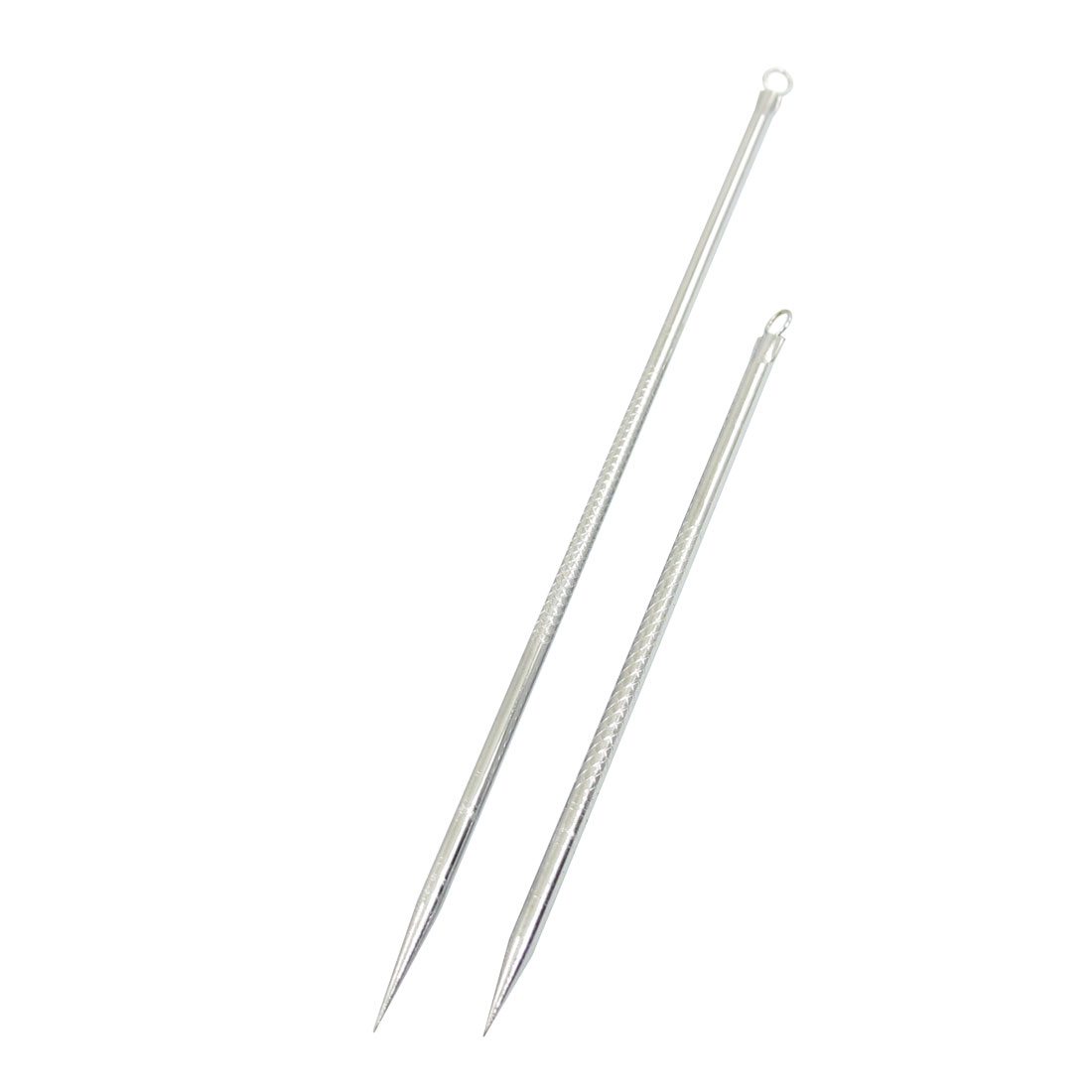 Ladies Plastic Bags Blackhead Pimple Acne Remover Needle Silver Tone 2 Pcs