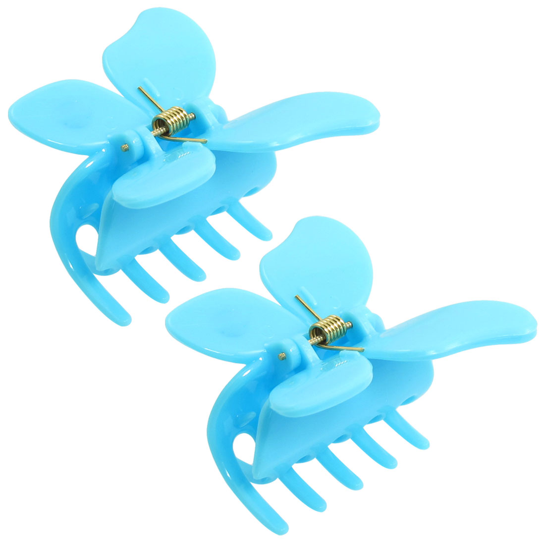 2 Pcs Blue Plastic Butterfly Detail Hair Claw Hairclips for Ladies