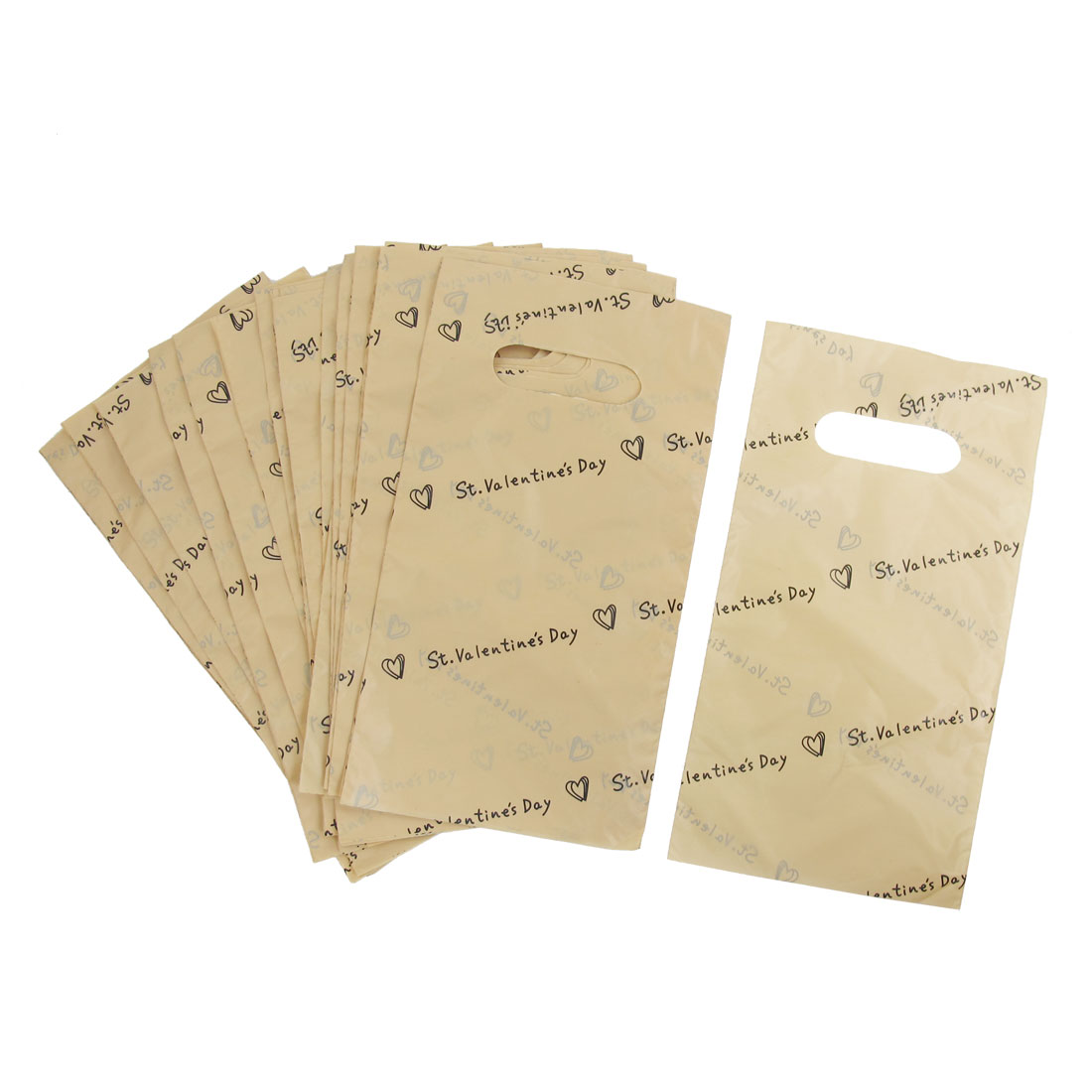 77 Pcs Beige Letters Printed Valentine Festival Gift Packaging Bag