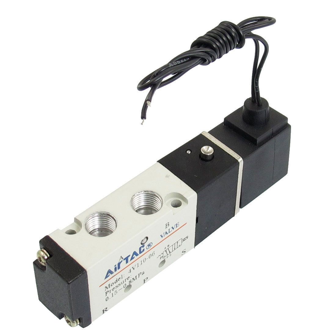 "4V110-06 AC 220V 1/8"" PT 2 Positions 5 Way Air Solenoid Operated Valve"