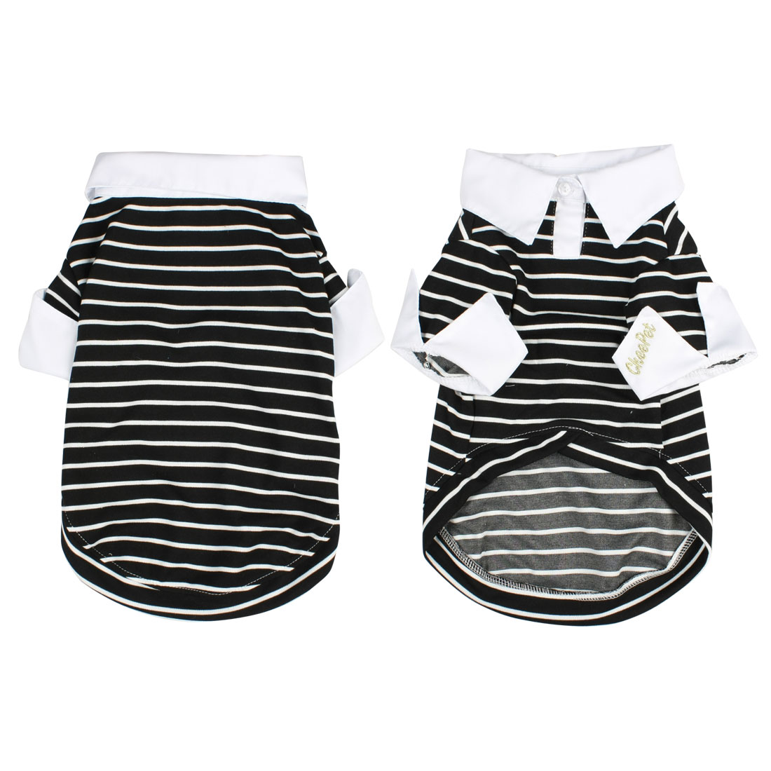 Pointed Collar Striped Shih Tzu Dog Clothes Pet Doggie Shirt Top Black L