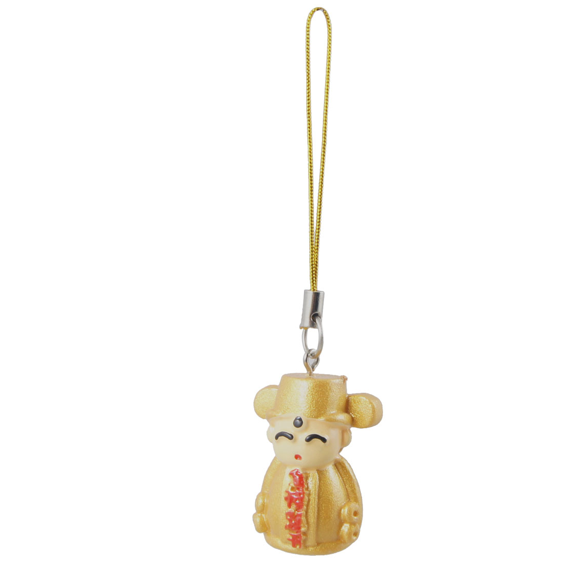 Gold Tone Plastic Doll Pendant Phone Hanging Charm Strap