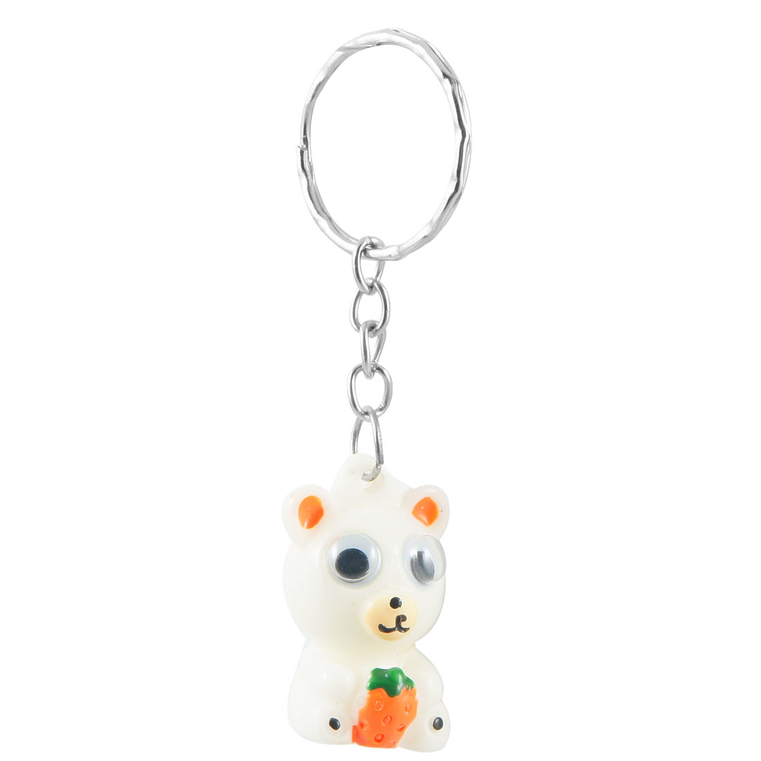 White Plastic Bear Pendant Key Ring Keychain Hanging Ornament