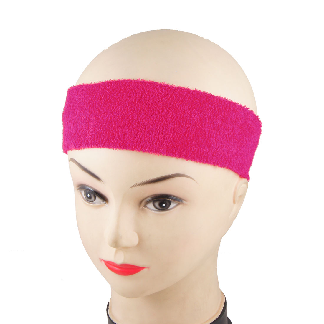 Ladies Fuchsia Sports Sweatband Elastic Head Band Headband 2 Pcs
