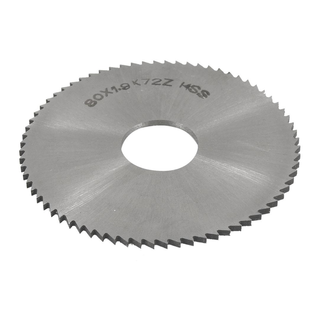 Silver Tone HSS High Speed Steel 72T Slitting Saw Blade 80mm x 1.9mm x 22mm