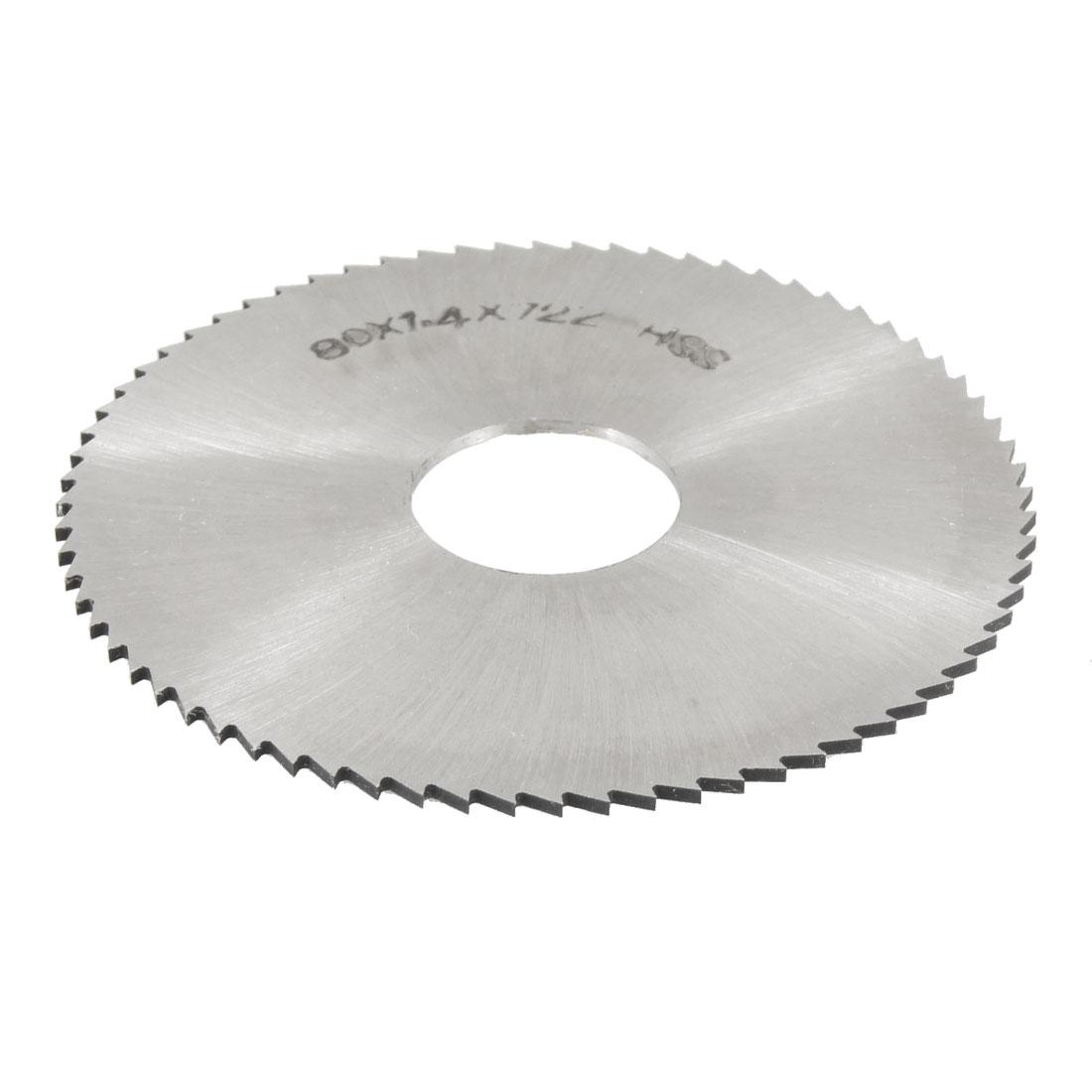 Silver Tone HSS 72T Slitting Saw 80mm x 1.4mm x 22mm