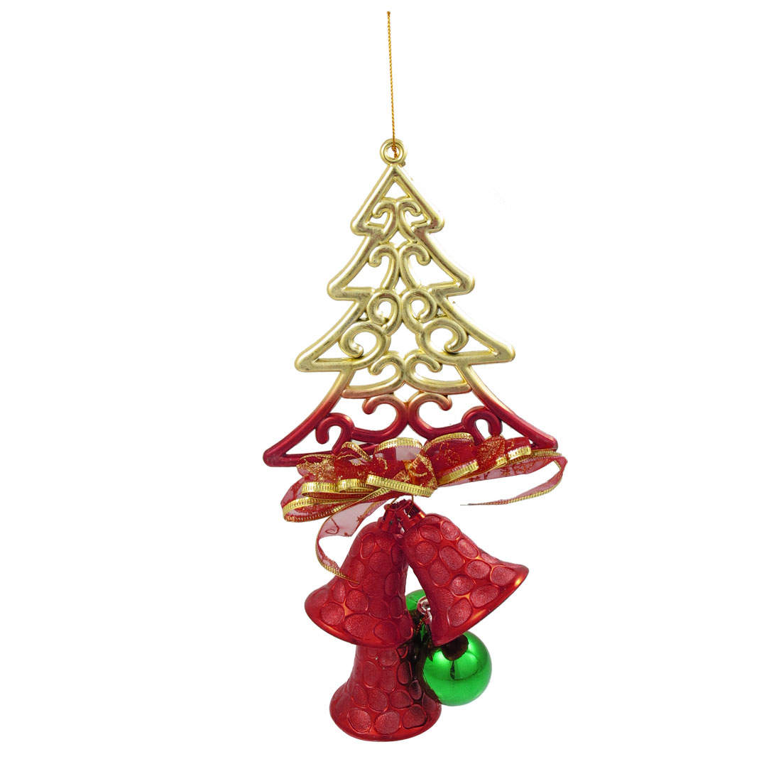 Red Green Plastic Xmas Tree Bells Dual Balls Christmas Tree Hanger Decoration