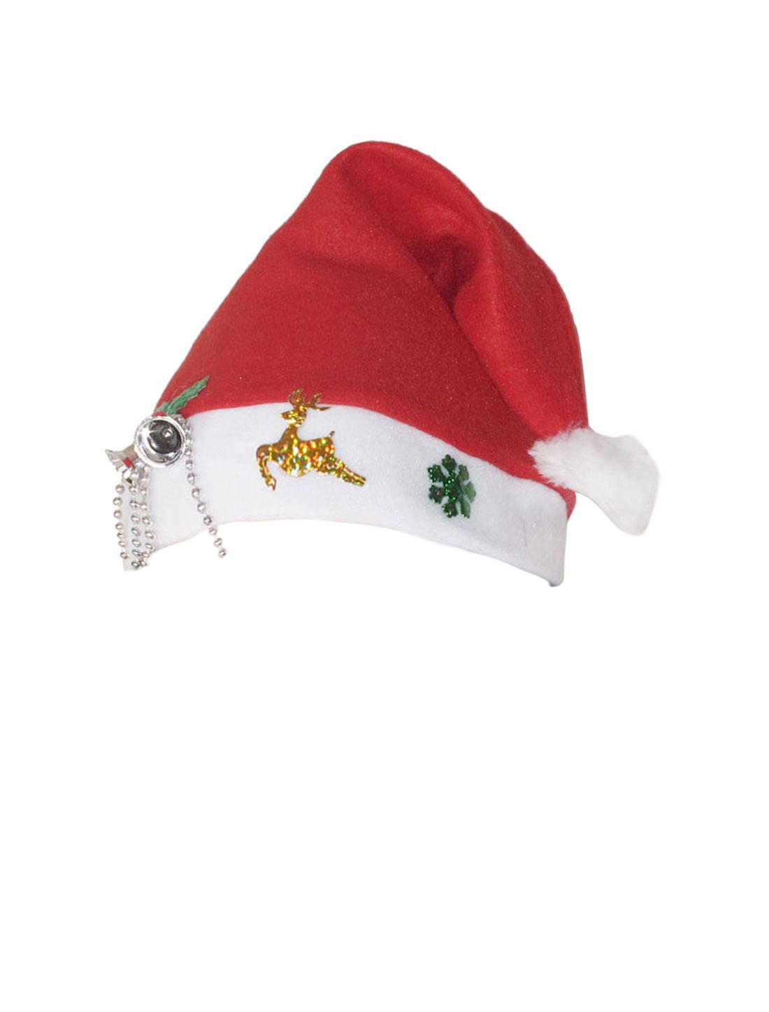5 Pcs Jingle Bell Deer Detail White Rim True Red Christmas Santa Hat for Adult