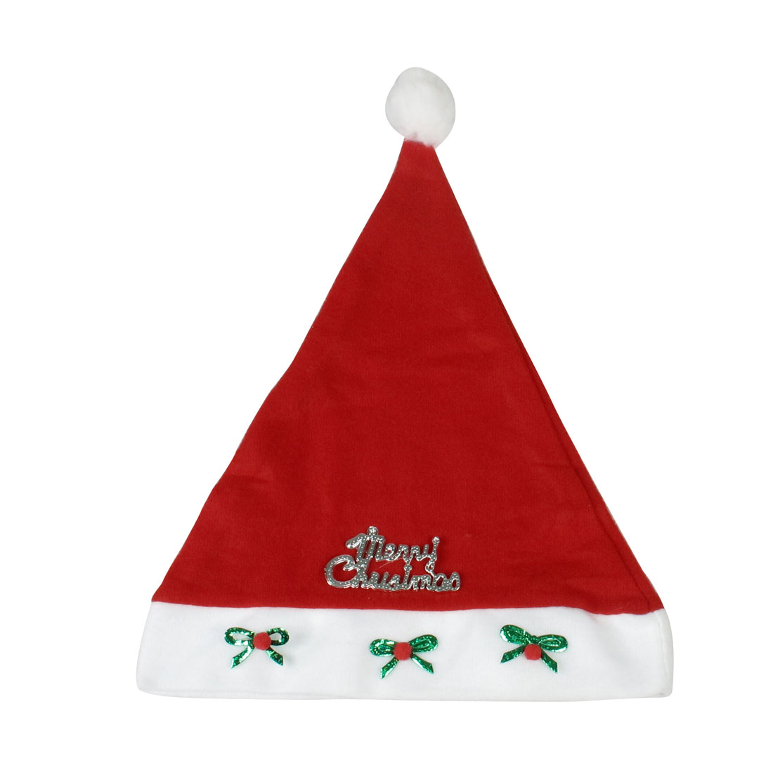 Adult Merry Christmas Letters Bowknot Decor True Red Xmas Santa Claus Hat 5 Pcs