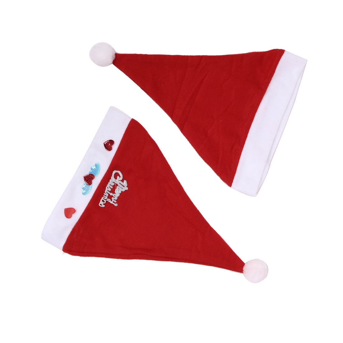 Adult Letters Angel Swing Detail True Red Xmas Christmas Santa Claus Hat 2 Pcs