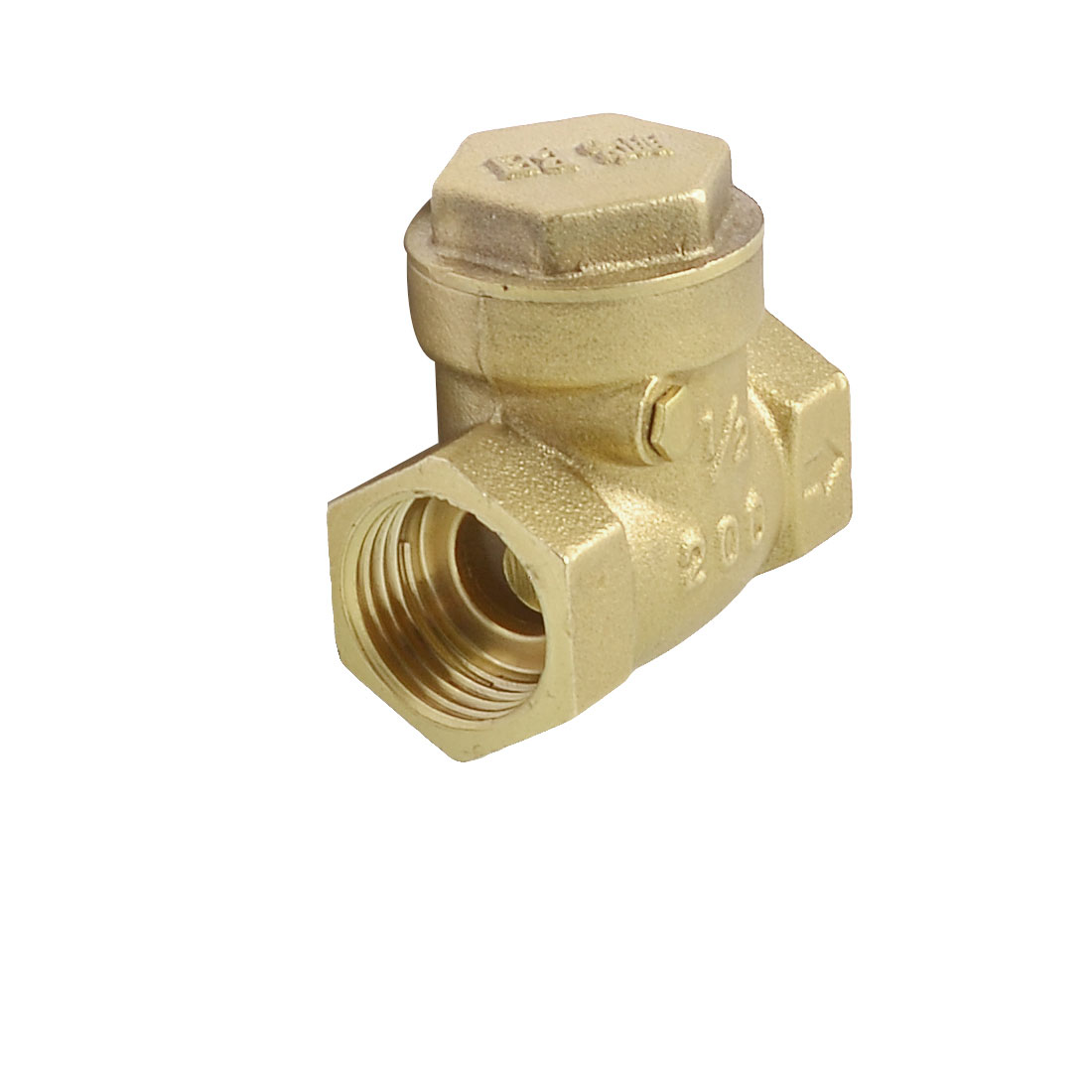 "NPT 1/2"" Screw Thread Plumbing Water Heater Check Valve Brass Tone"
