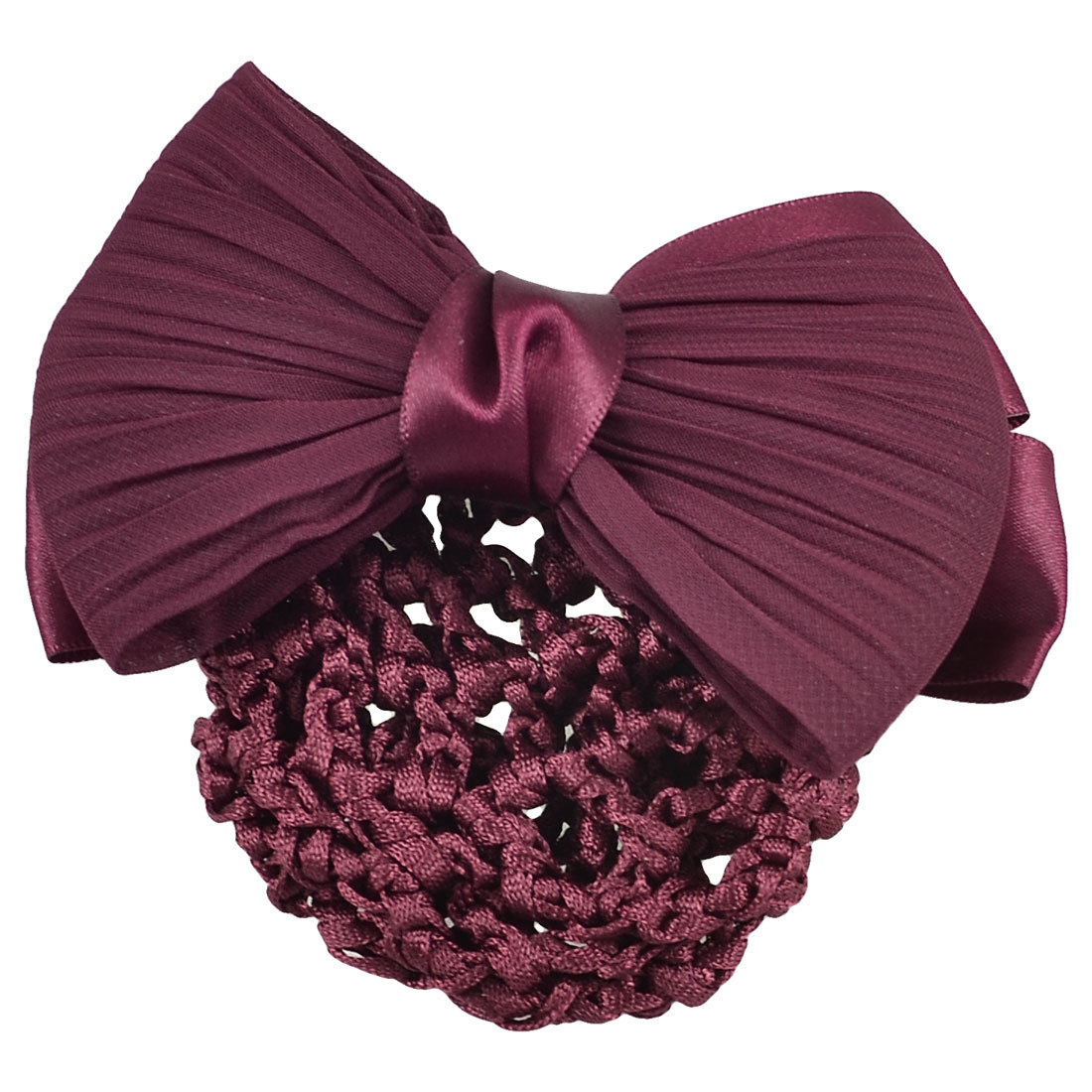 Burgundy Bowknot Snood Net Barrette Hairnet Hair Clip Bun Cover Accessories for Women