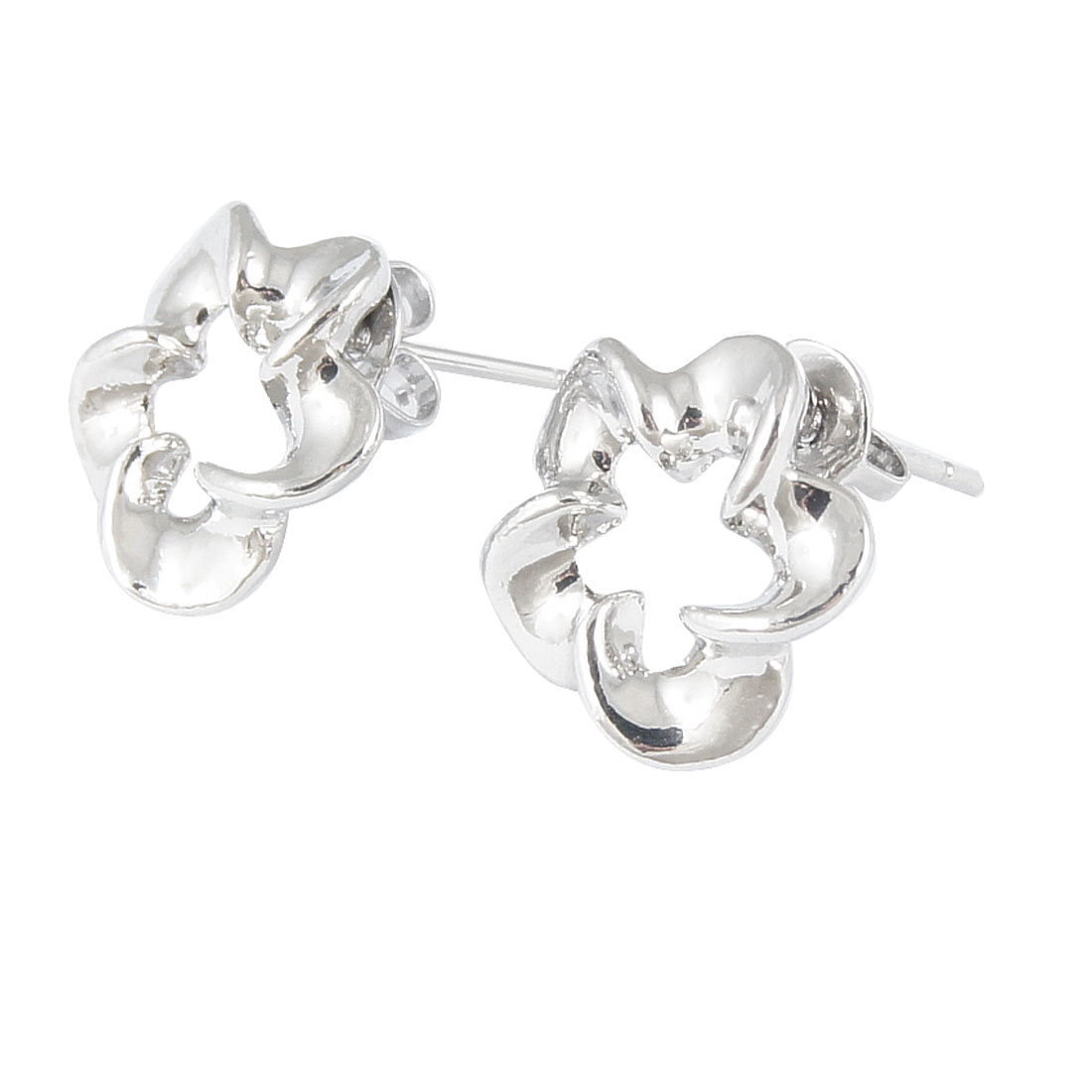 Lady Metal Floral Shape Decor Pierced Ear Stud Nail Earrings Silver Tone Pair