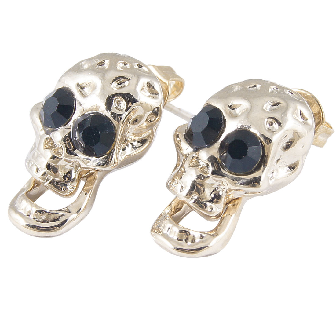 Pair Girls Skull Pendant Black Rhinestone Eye Decor Screw Back Pierced Stud Earrings Copper Tone
