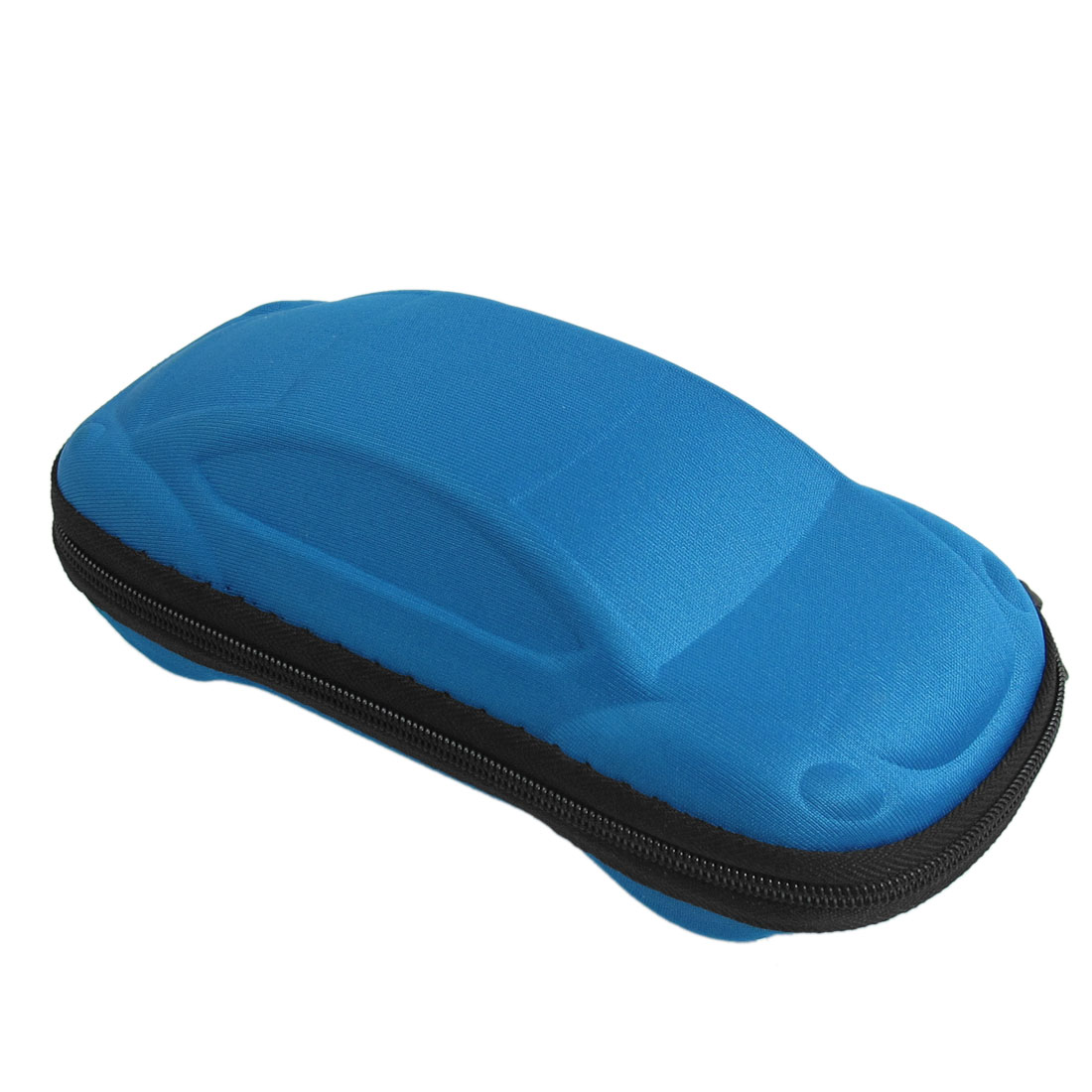 Blue Foam Nylon Black Zippered Eyeglasses Sunglasses Box Case