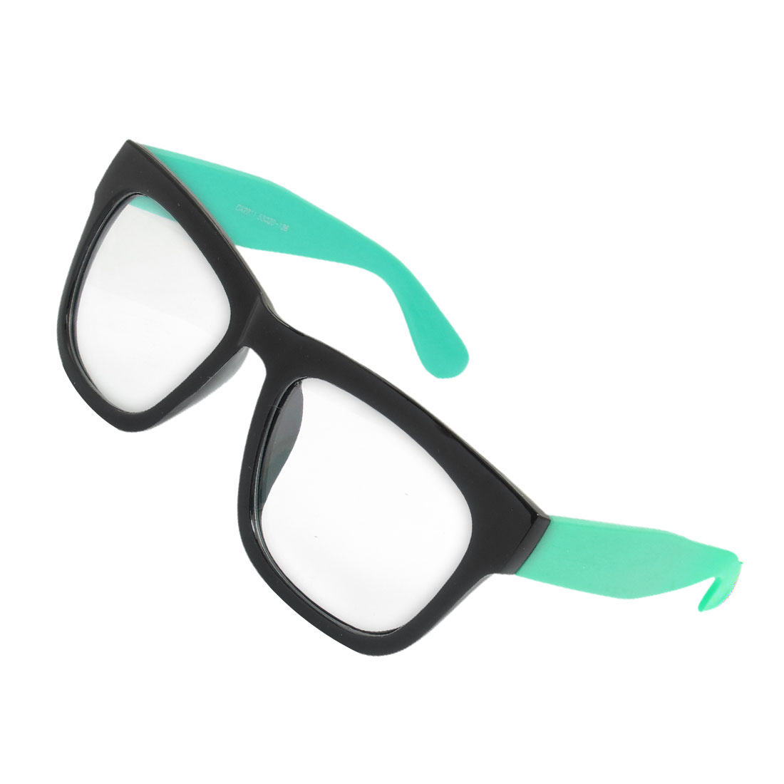 Women Men Single Bridge Black Frame Teal Blue Arms Plastic Plain Glasses