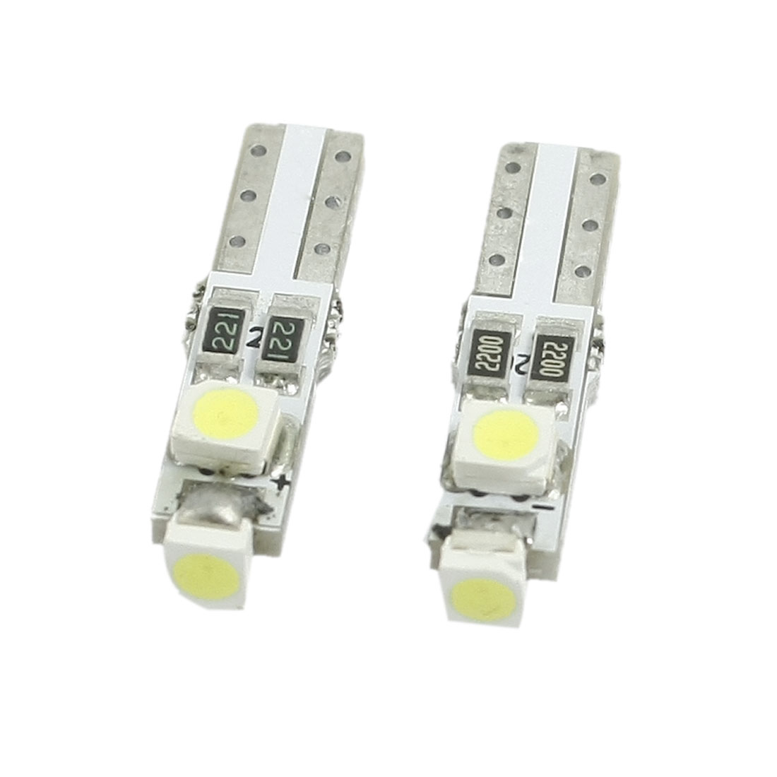 2 Pcs White 1210 3 SMD LED Light T5 Car Auto Wedge Bulb Lamp