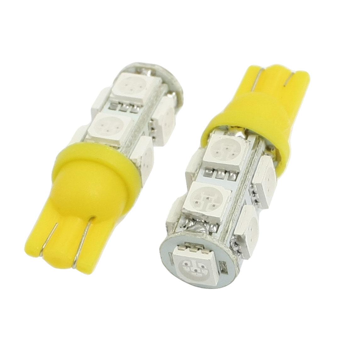 2 Pcs Car Auto T10 Yellow 5050 9-SMD LED Bulb Light Lamp