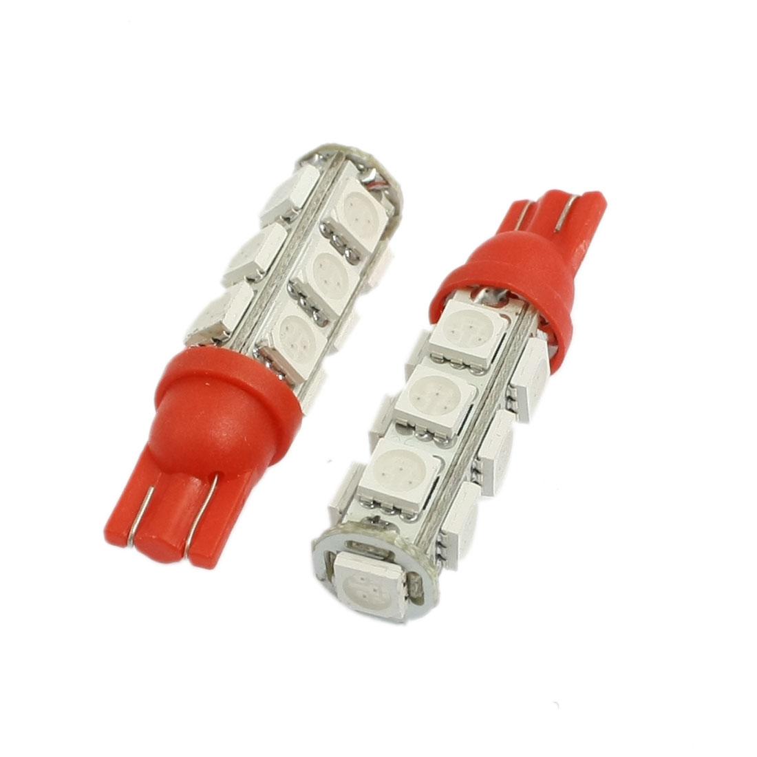 2 Pcs Car Auto T10 Red 5050 13-SMD LED Bulb Light Lamp