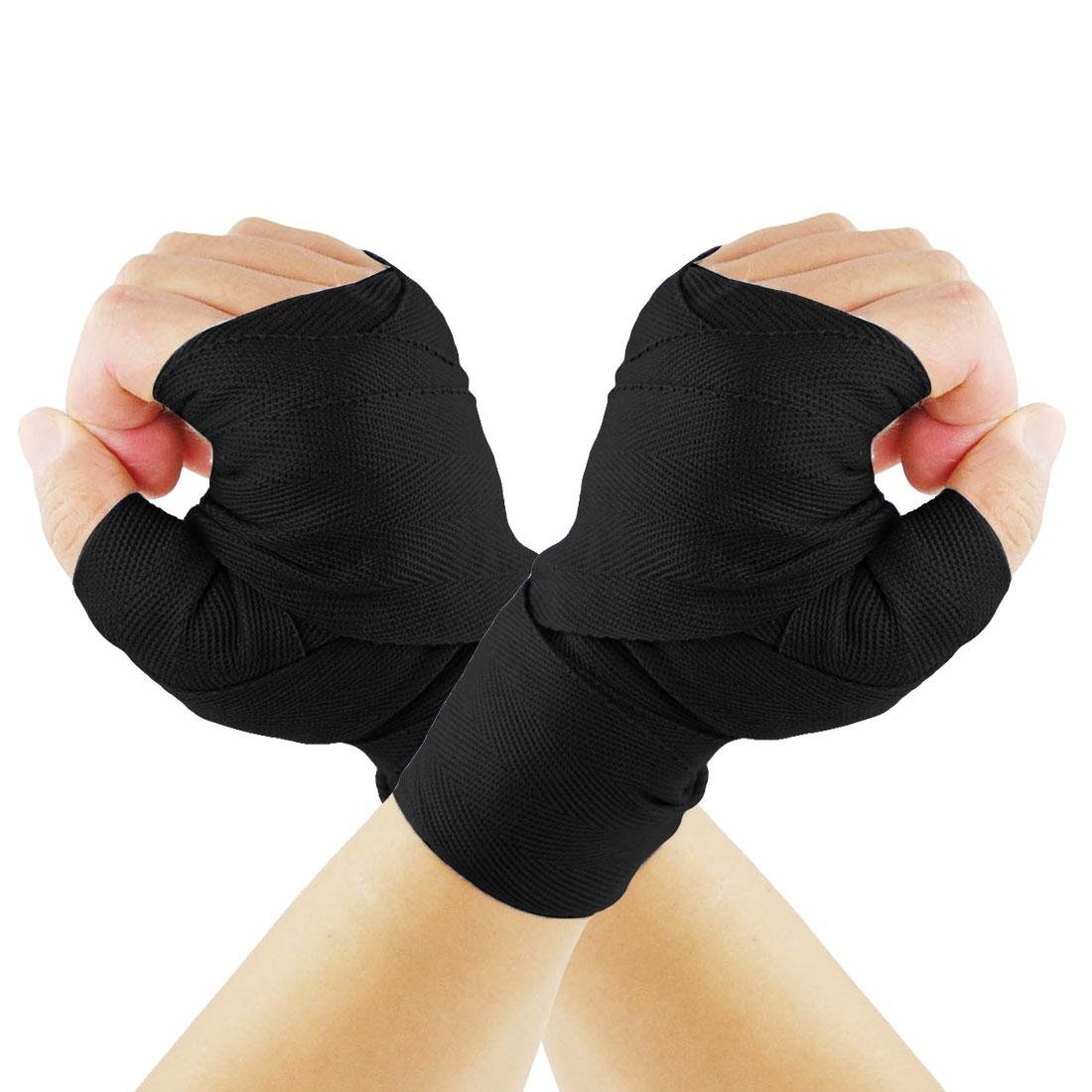 Hook Loop Fastener Black Cotten Boxing Hand Wraps Bandages Pair
