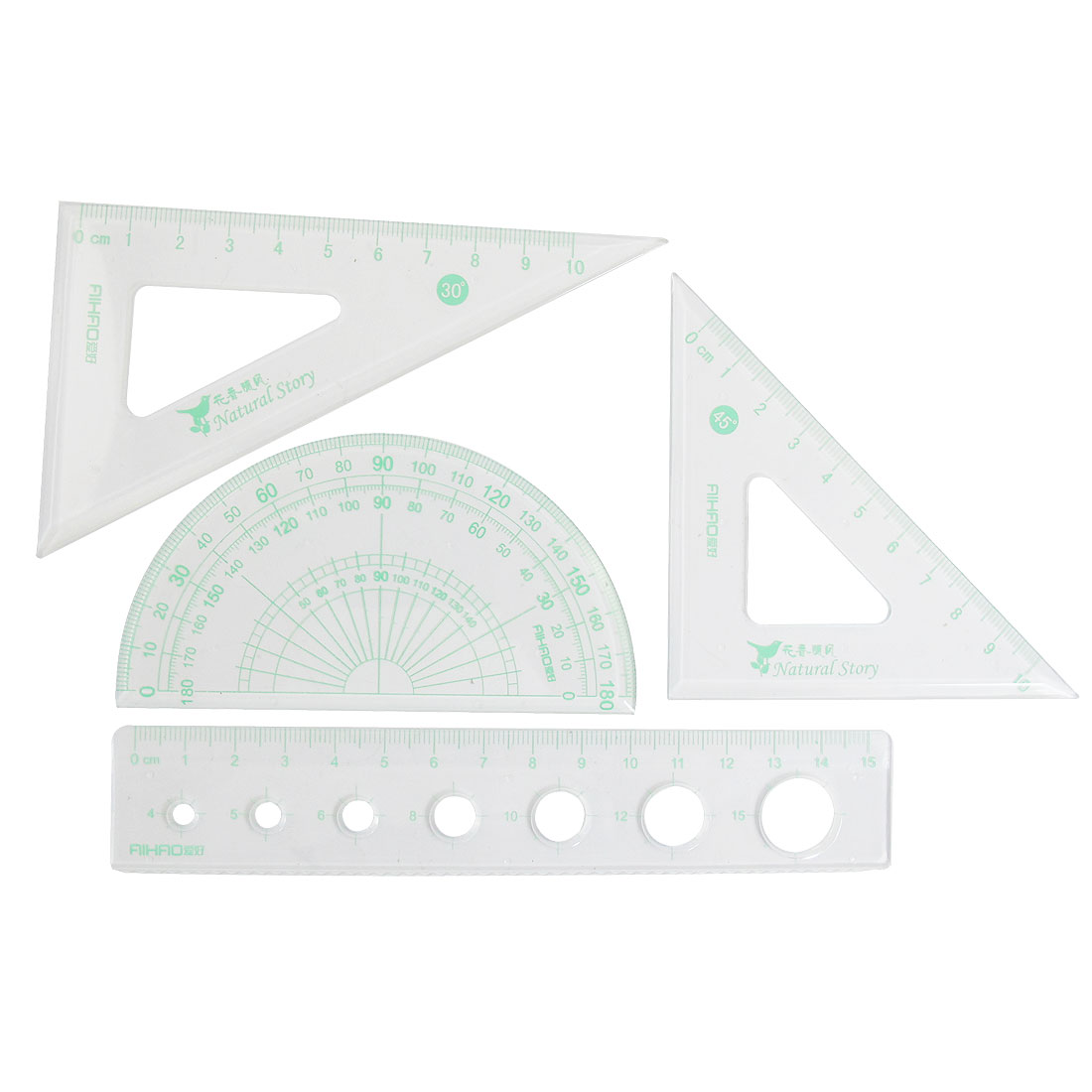 Clear Green 4 in 1 Students Plastic Stationery Ruler Protractor w Bag