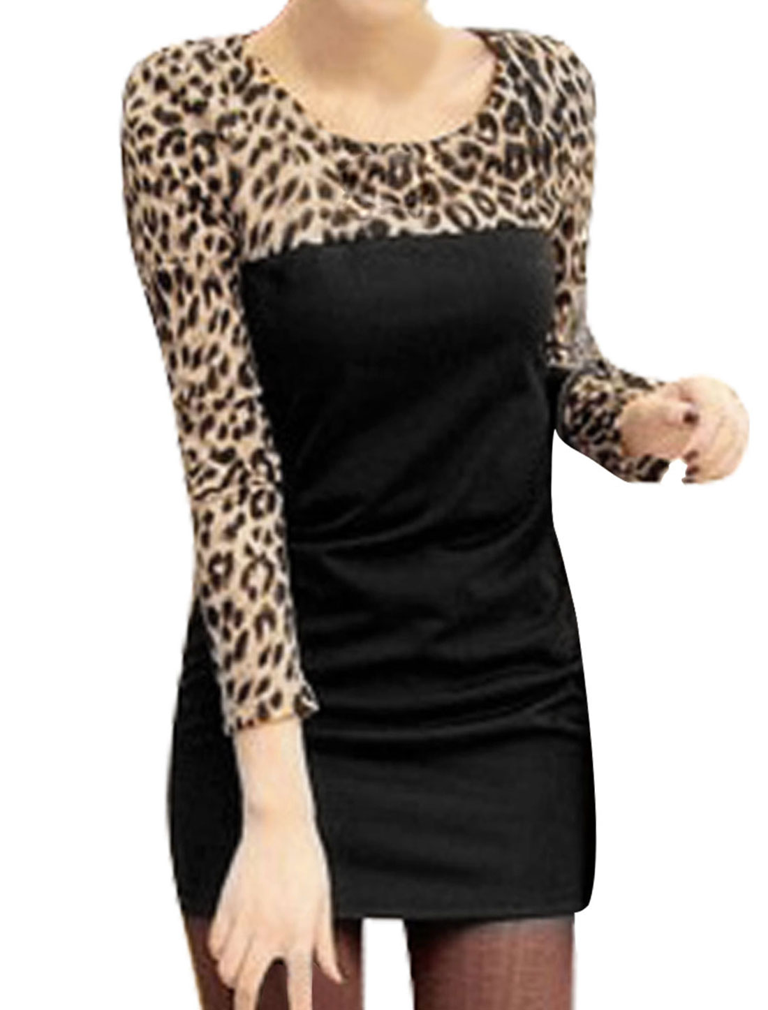 Ladies Coffee Color Black Long Sleeves Leopard Prints Pullover Mini Dress XS
