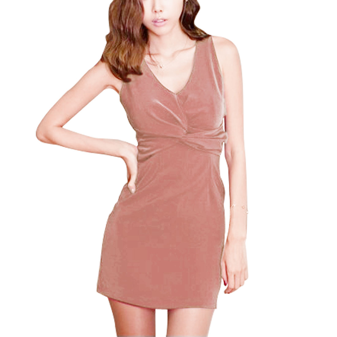 Ladies Light Pink V Neck Casual Skinny Tank Dress XS