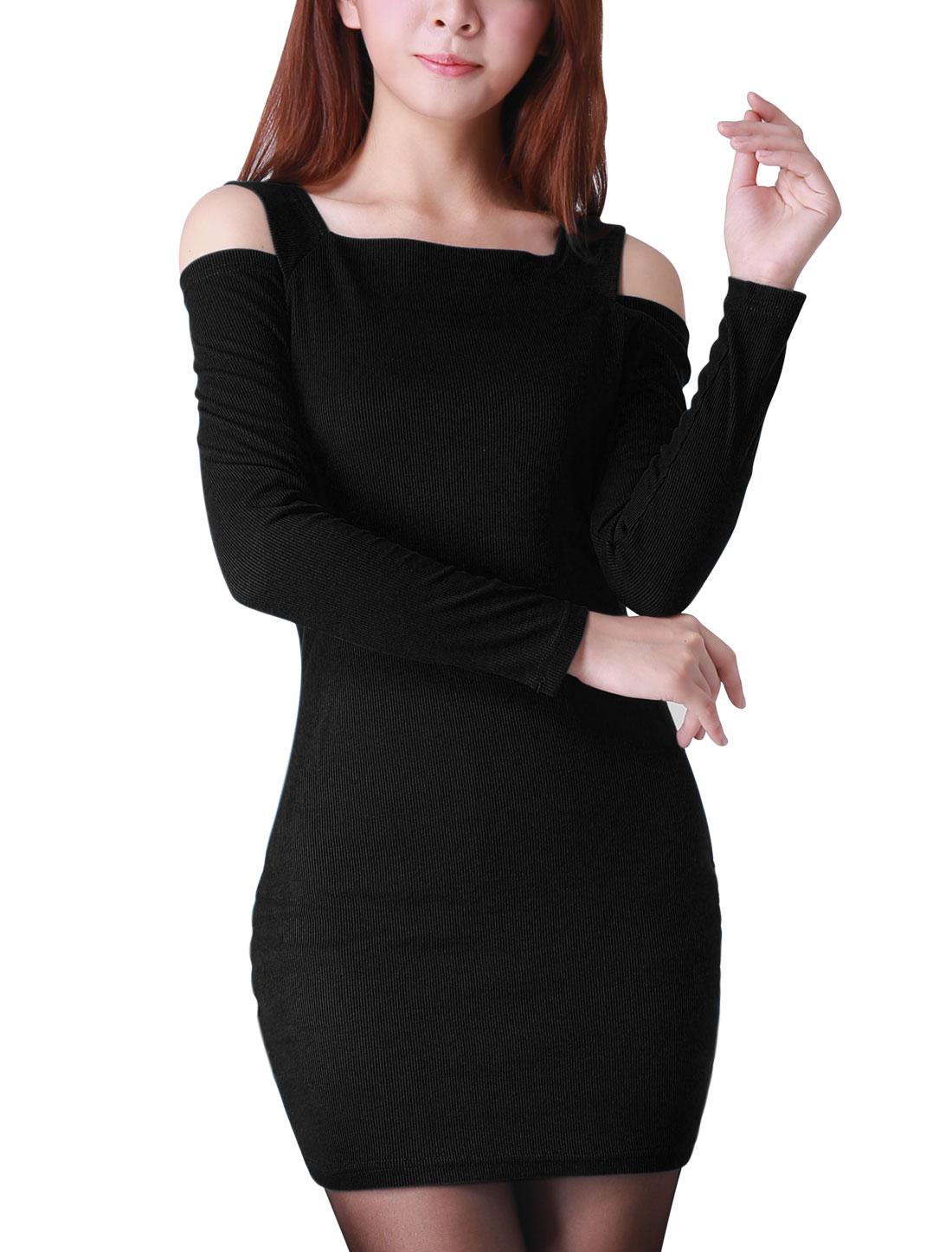 Ladies Black Square Neckline Cut Out Shoulders Stretchy Mini Dress XS