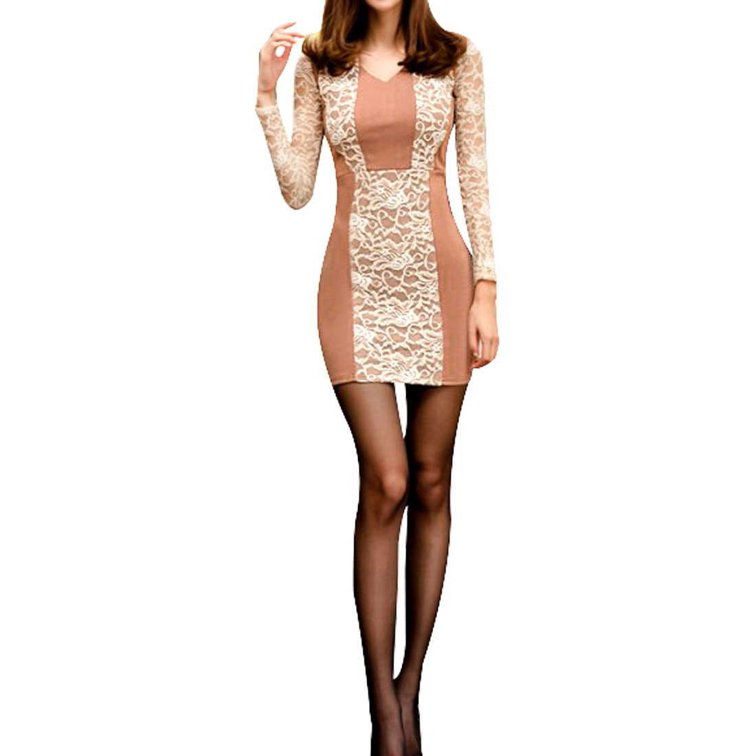 Ladies Pink Long Sleeves Lace Panel Pullover Mini Dress XS