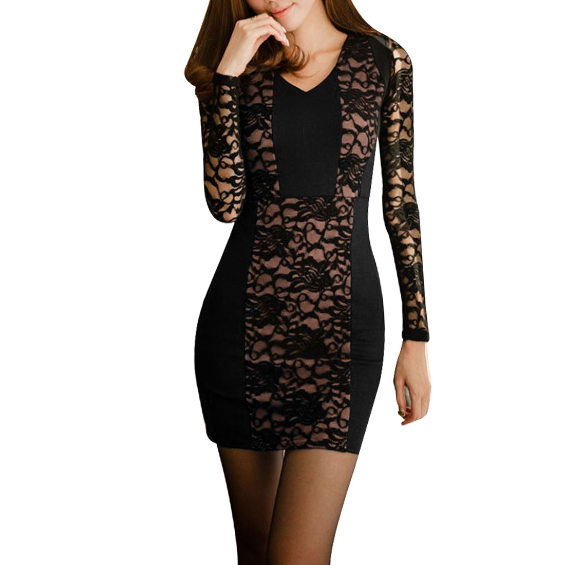 Ladies Black V Neck Color Block Lace Splice Autumn Casual Mini Dress XS