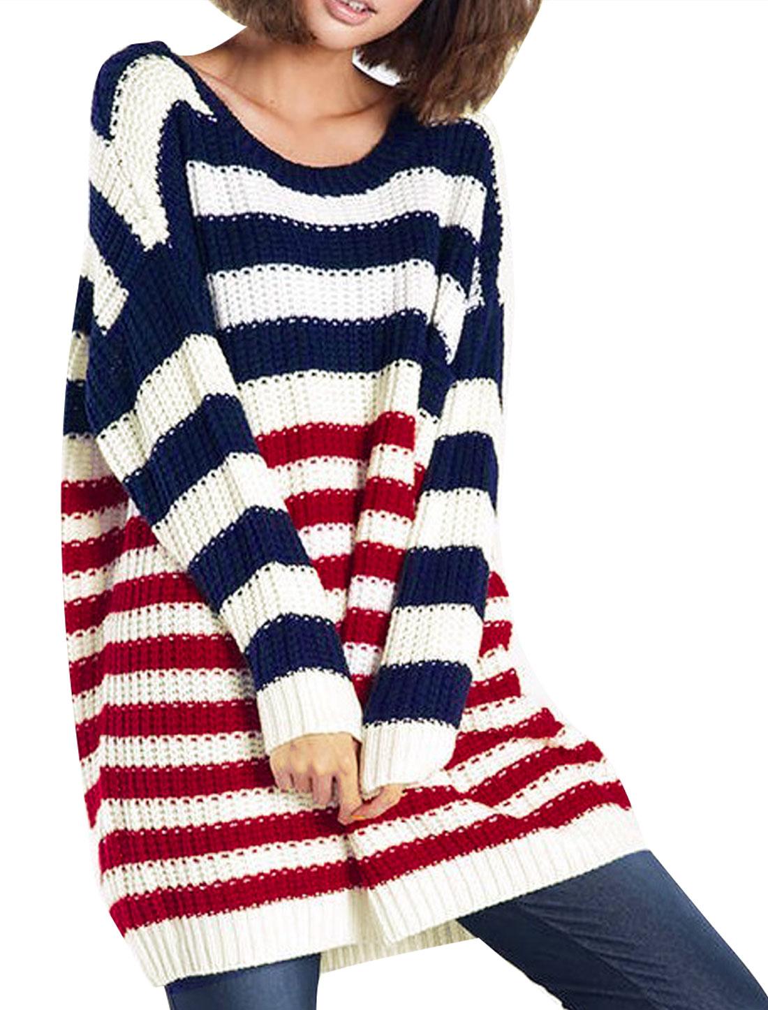 Women White Dark Blue Red Stripes Pattern Pullover Sweater S