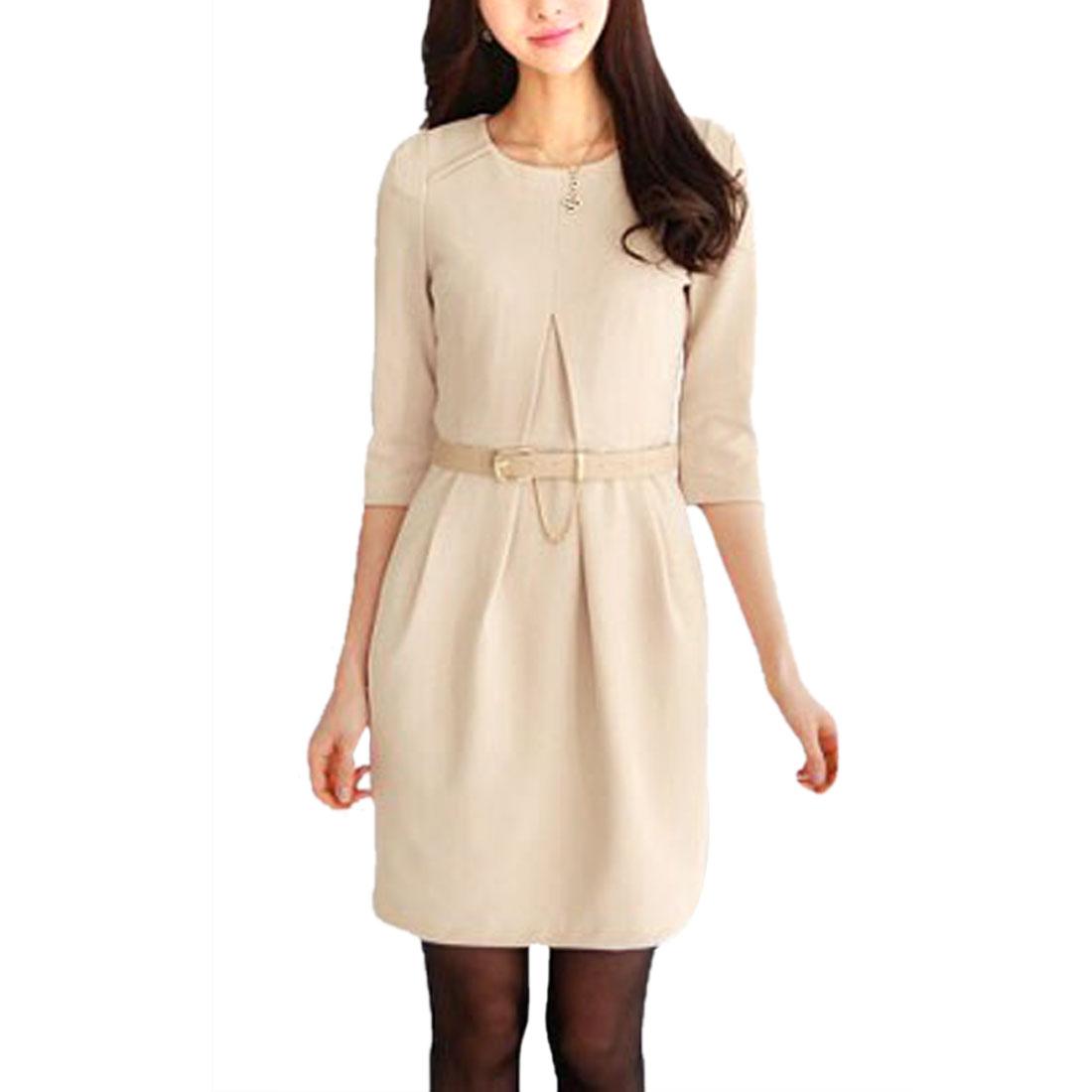 Ladies Apricot Scoop Neck Pullover With waist Belt Mini Dress XS