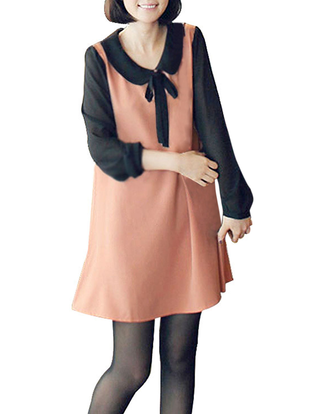 Ladies Pink Doll Collar Self Tie Bowknot Pullover Casual Mini Dress XS