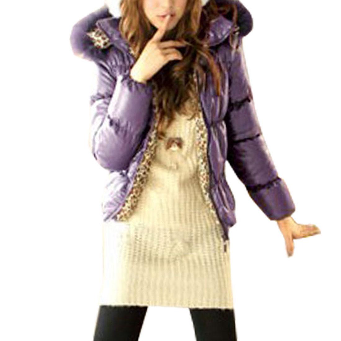 Women Long Sleeve Zip Up Front Zippered Plush Hood Purple Coat XS
