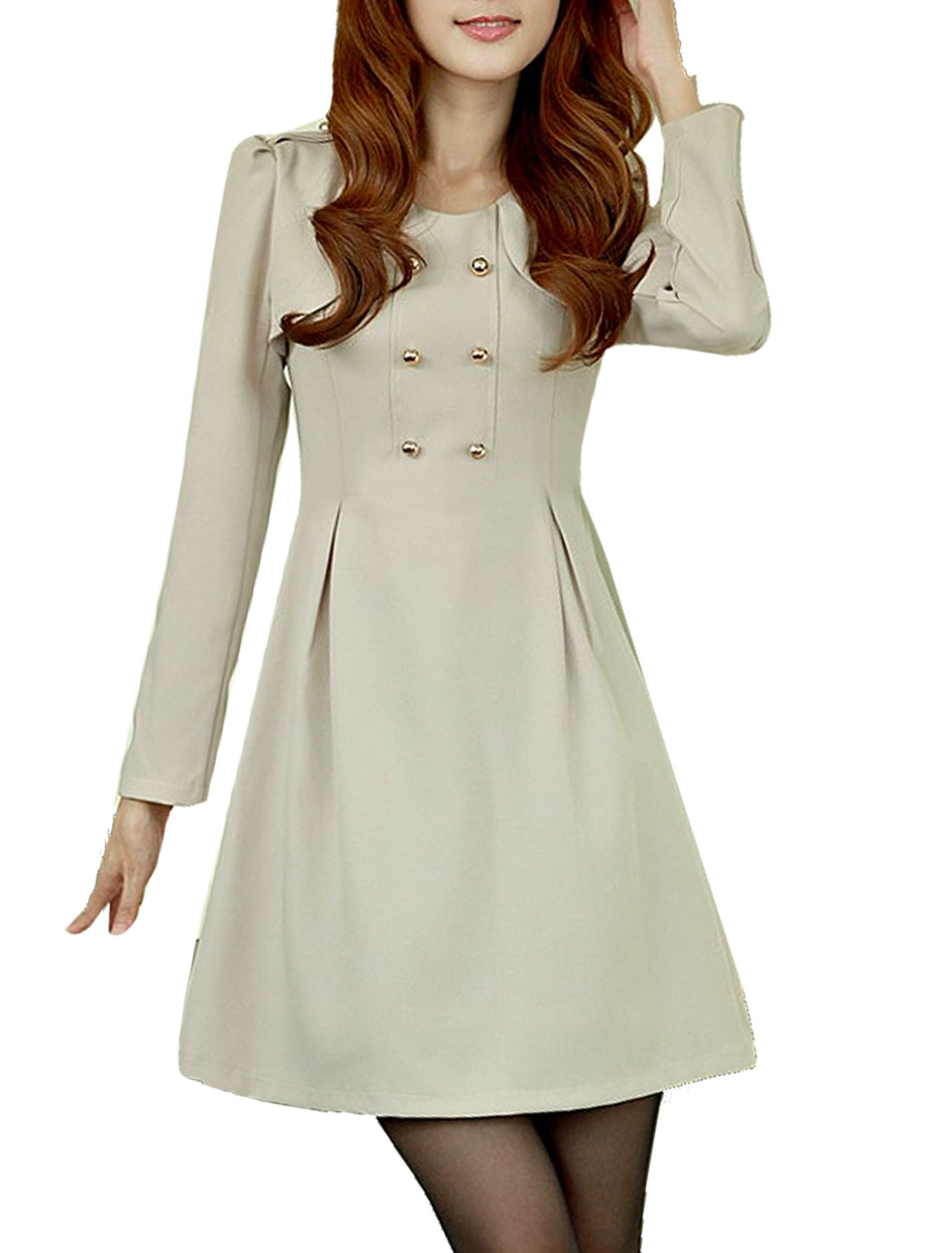 Autumn Scoop Neck Long Sleeve Ladies Pullover Apricot Dress XS