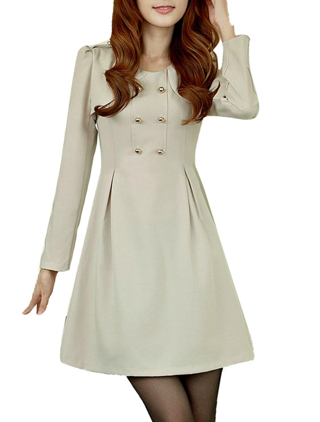 Autumn Scoop Neck Long Sleeve Ladies Apricot Dress XS