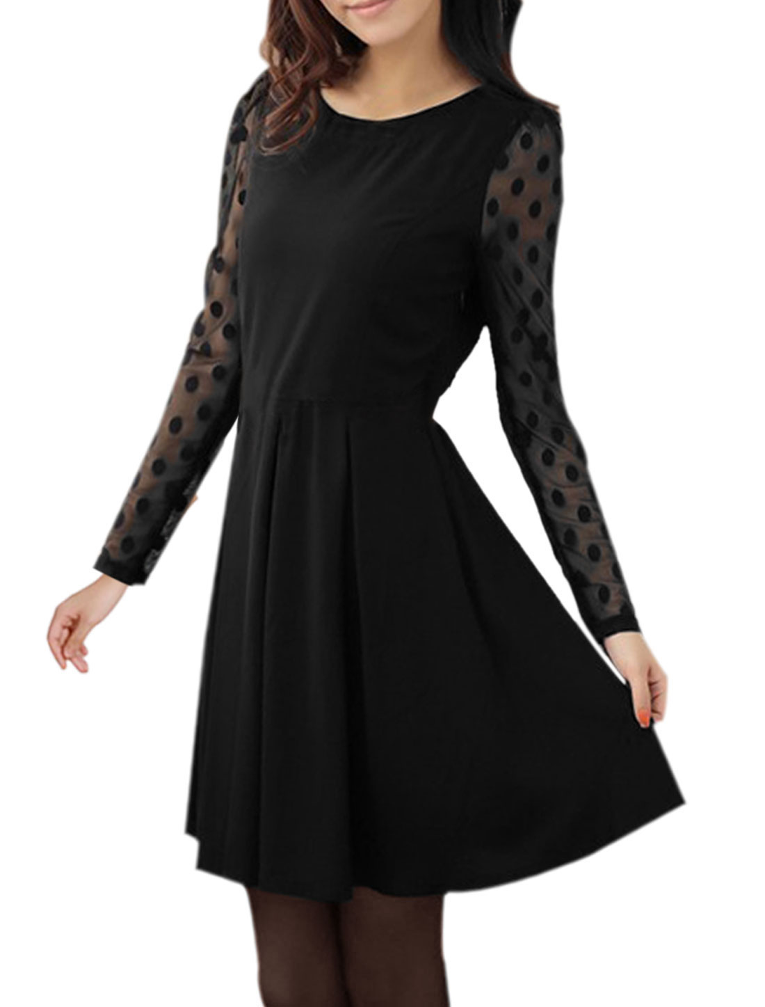 Ladies Black Long Sleeves Dots Pattern Casual Pullover Dress XS