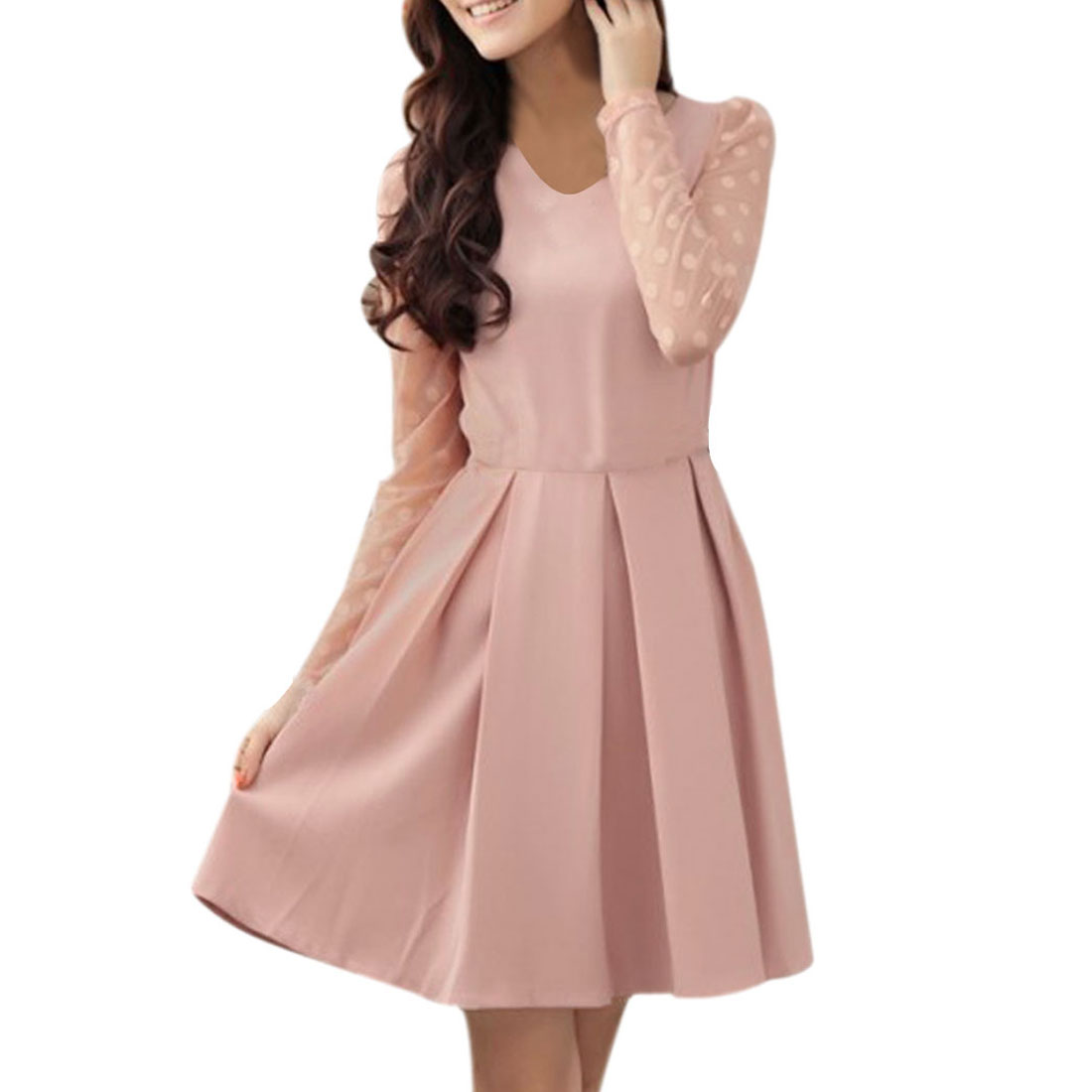 Ladies Light Pink Mesh Panel Pleated Above Knee Pullover Dress XS