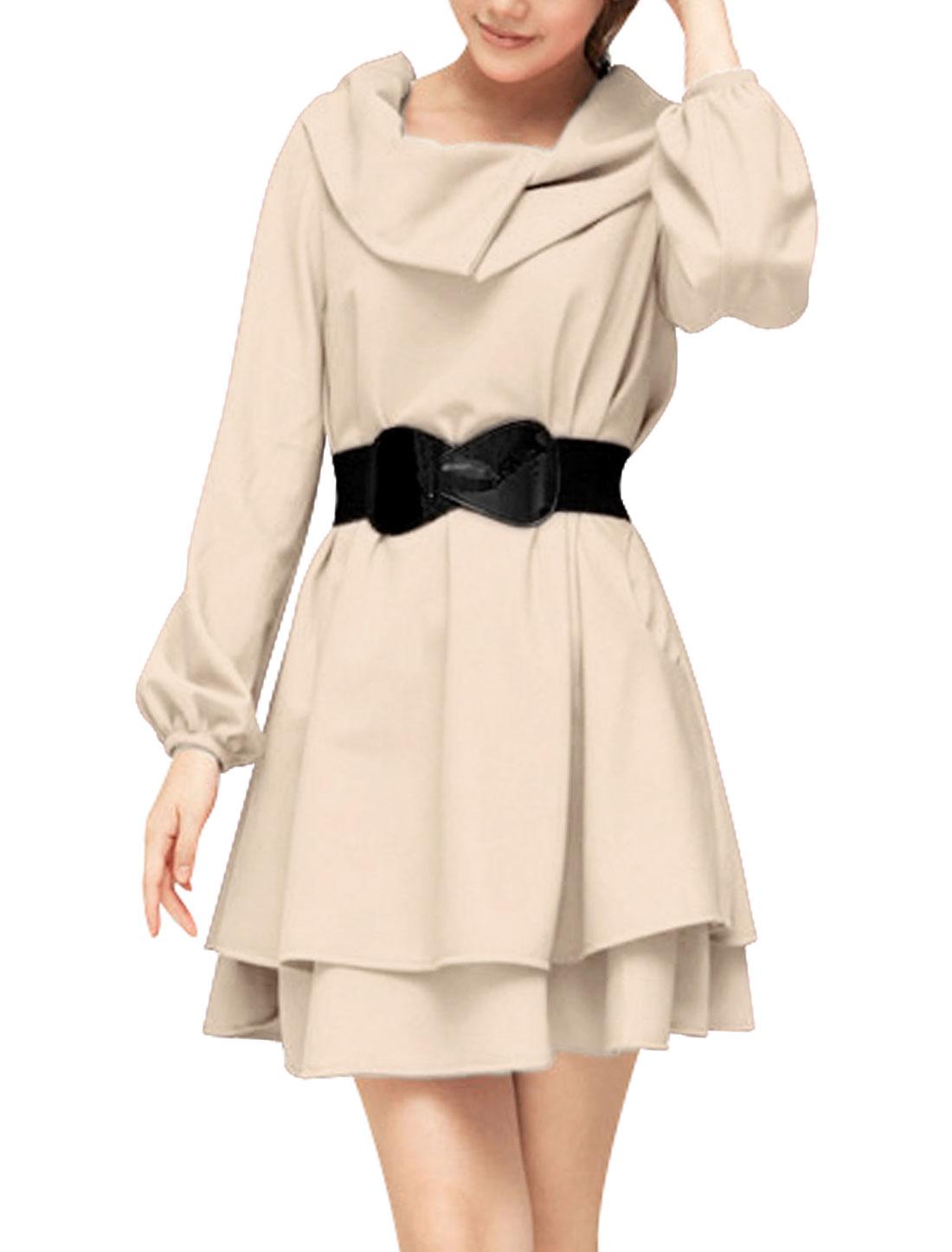 Lady Irregular Collar Puff Long Sleeve Autumn Beige Flare Dress L