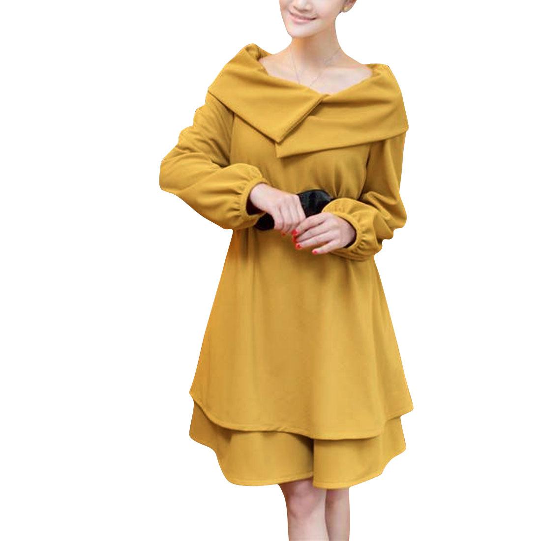 Ladies Dark Yellow Long Sleeve Convertible Dress w Waistbelt L