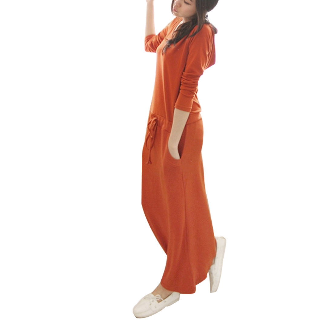 Ladies Orange Long Sleeves Drawstring Waist Casual Hooded Long Dress XS