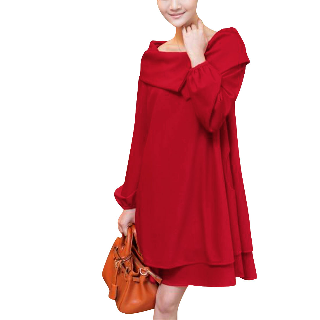 Ladies Puff Long Sleeve Pullover Pleated Hem Red Autumn Dress M