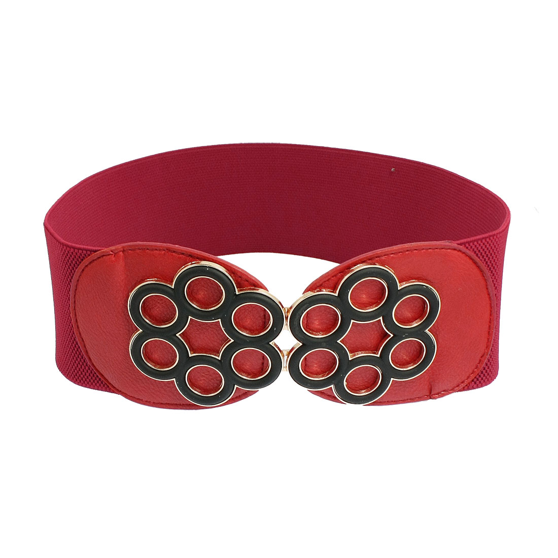 Women 6 Petal Flower Textured Red Faux Leather Elastic Waist Belt Strap
