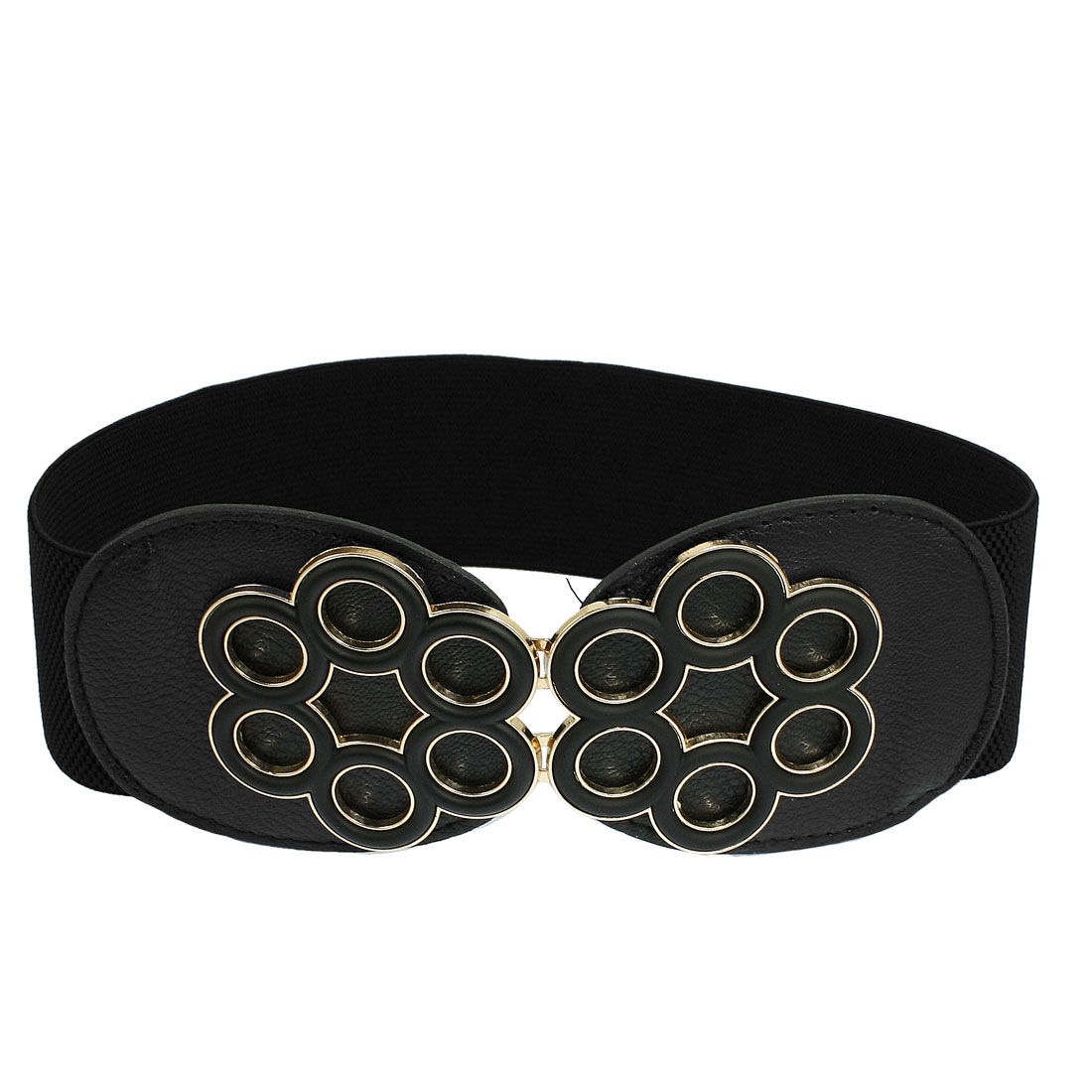 Ladies 6 Petal Flower Textured Faux Leather Elastic Waist Belt Strap Black