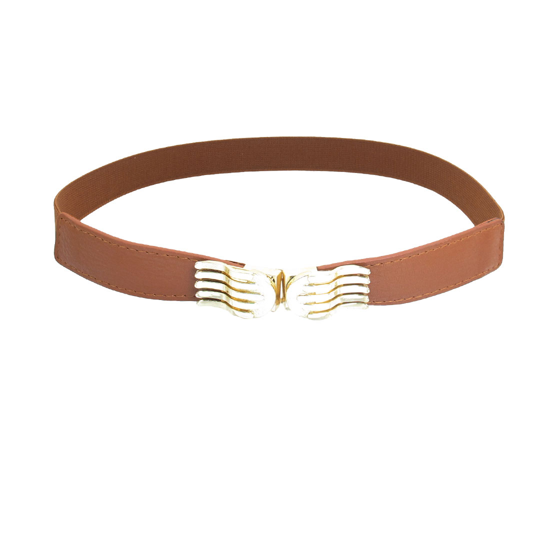 Brown Faux Leather Gold Tone Palm Shape Stretchy Waist Belt Cinch for Women