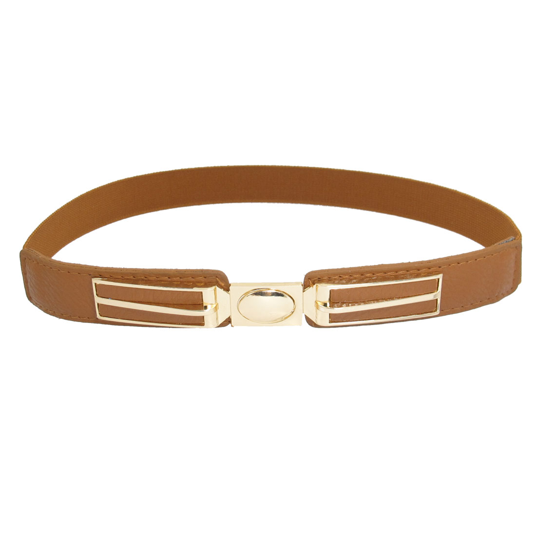Woman Brown Faux Leather Metal Interlocking Buckle Stretchy Belt Ornament