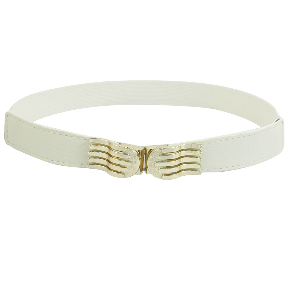 Beige Faux Leather Gold Tone Palm Shape Stretchy Waist Belt Cinch for Women