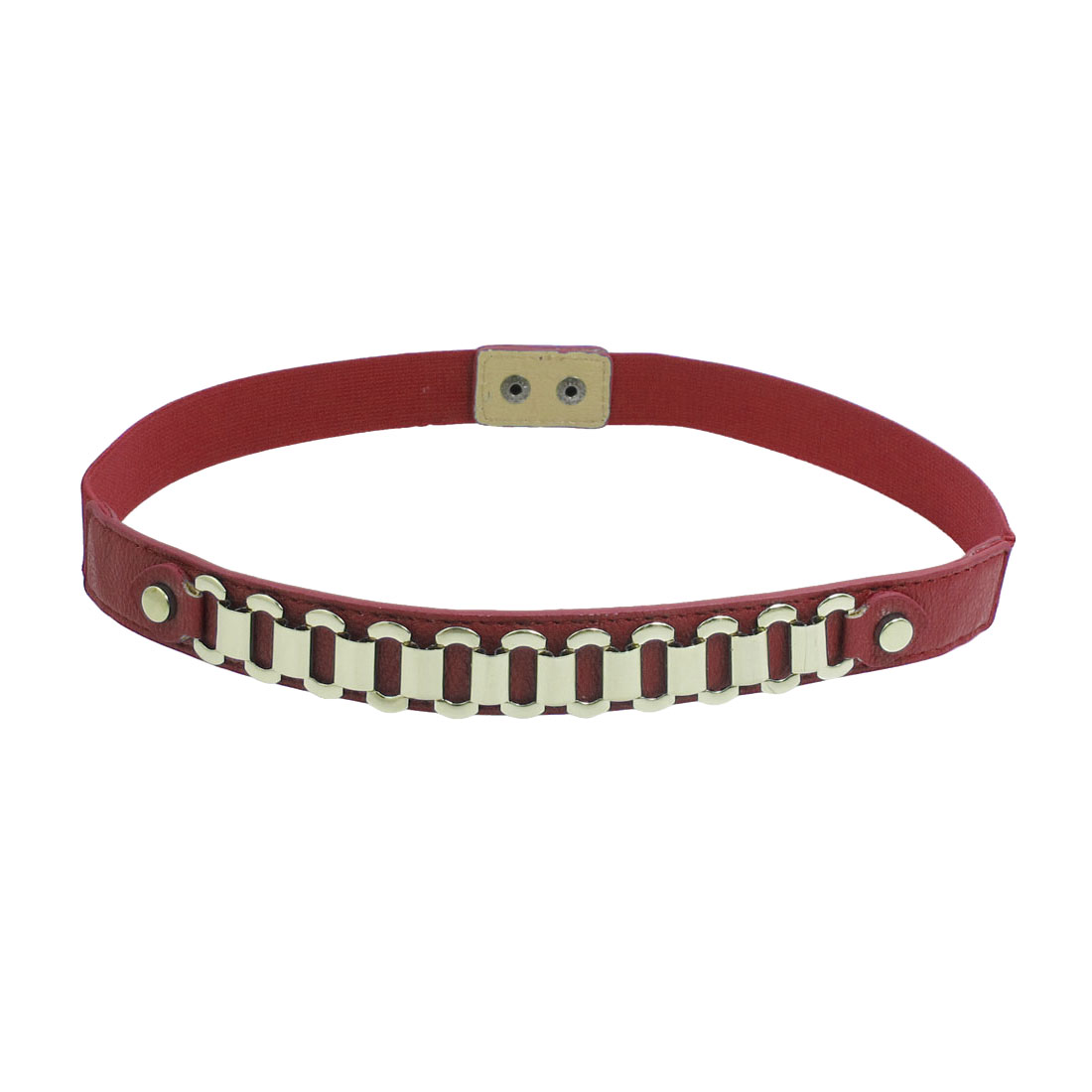 Lady Gold Tone Metal Chain Accent Faux Leather Elastic Waistband Red