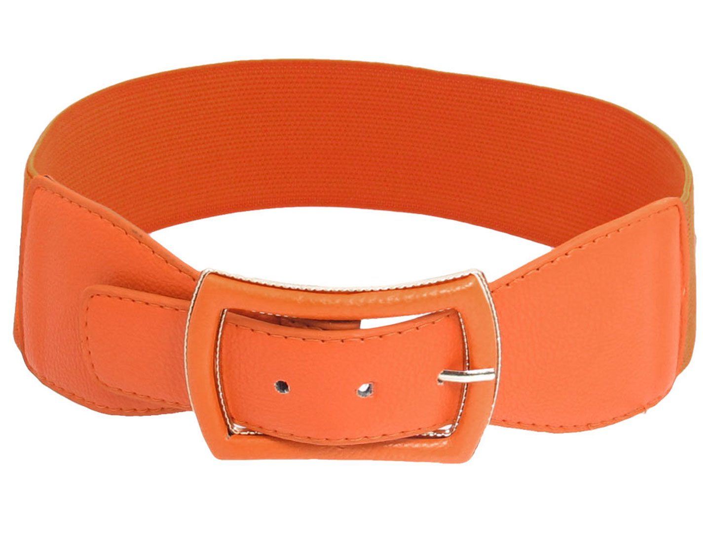 Woman Faux Leather Coated Metal Single Pin Buckle Stretchy Belt Ornament Orange