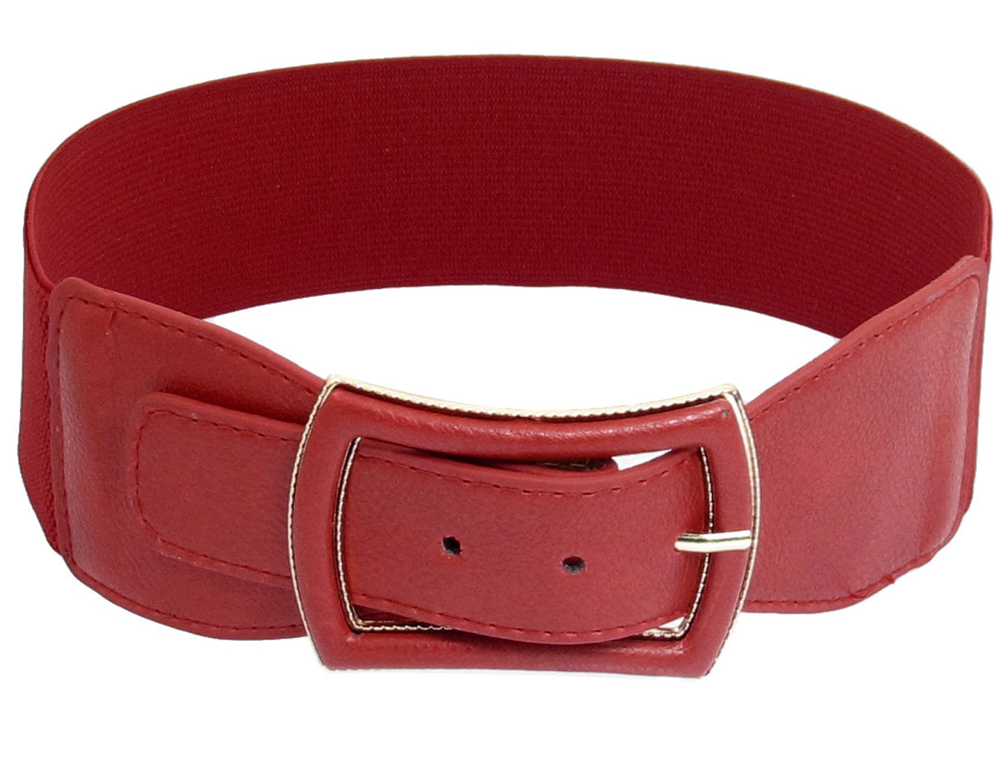 Woman Faux Leather Coated Metal Single Pin Buckle Stretchy Belt Ornament Red